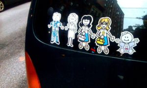 family stickers on car